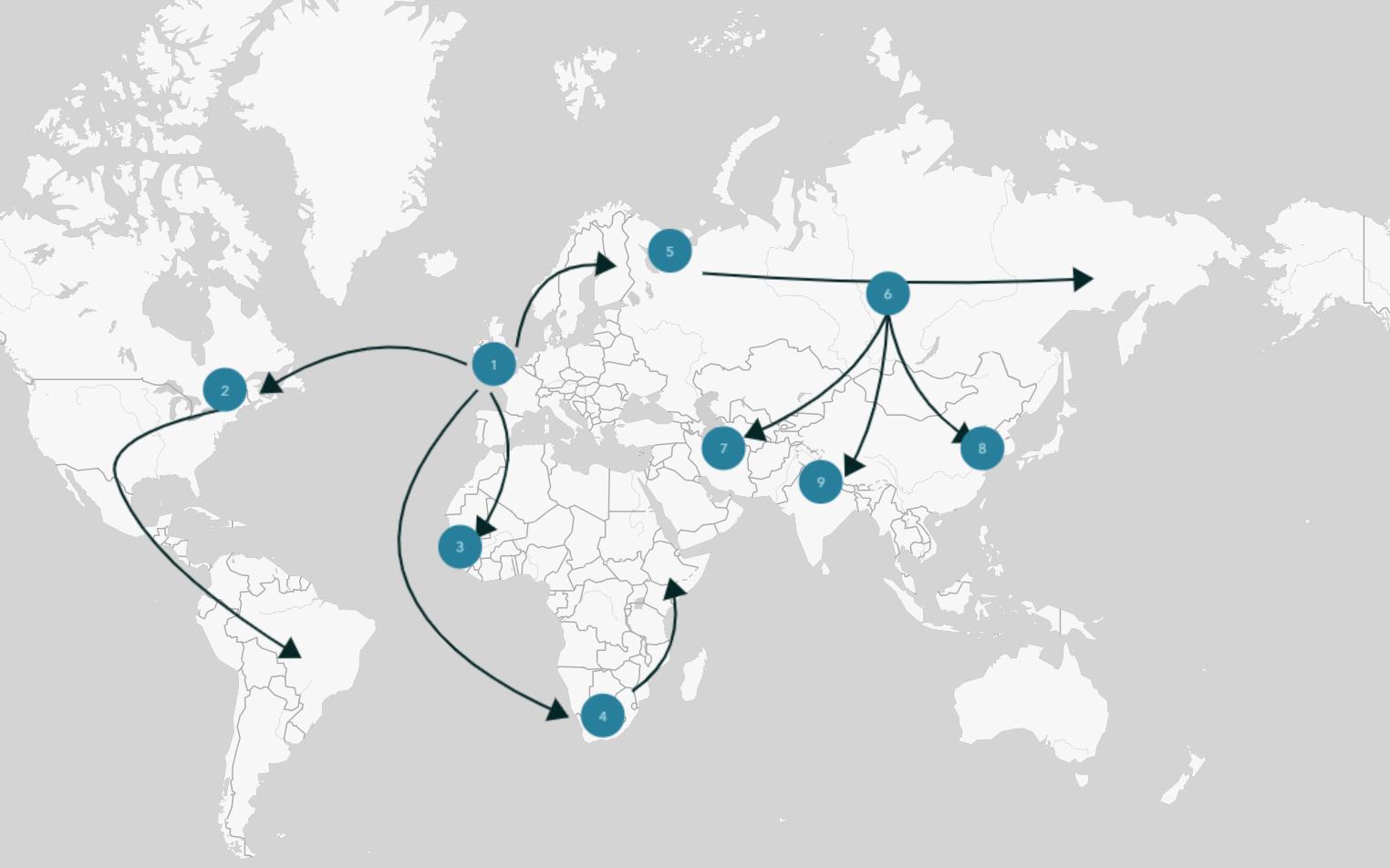 Spanish Flu Spread Map