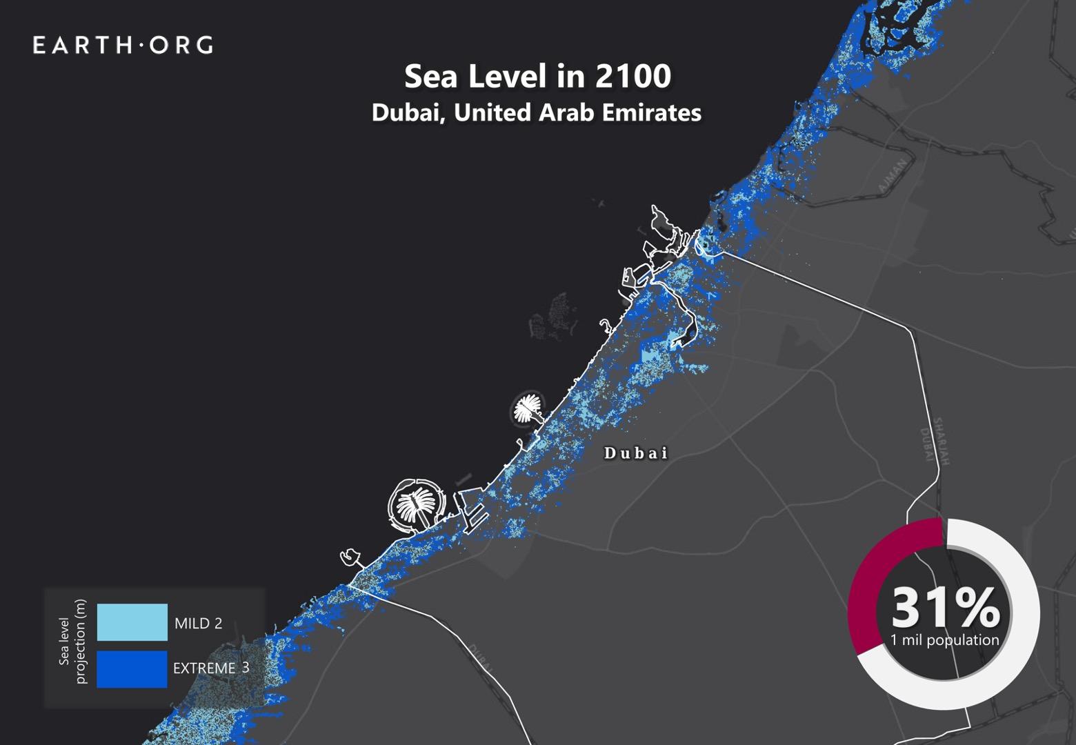sea level rise by 2100 dubai