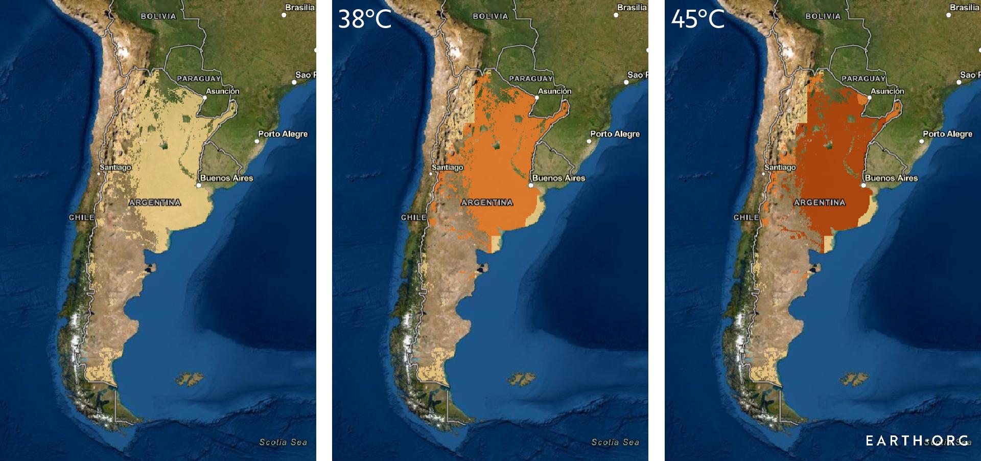Argentina summer maximums hotspots future agriculture