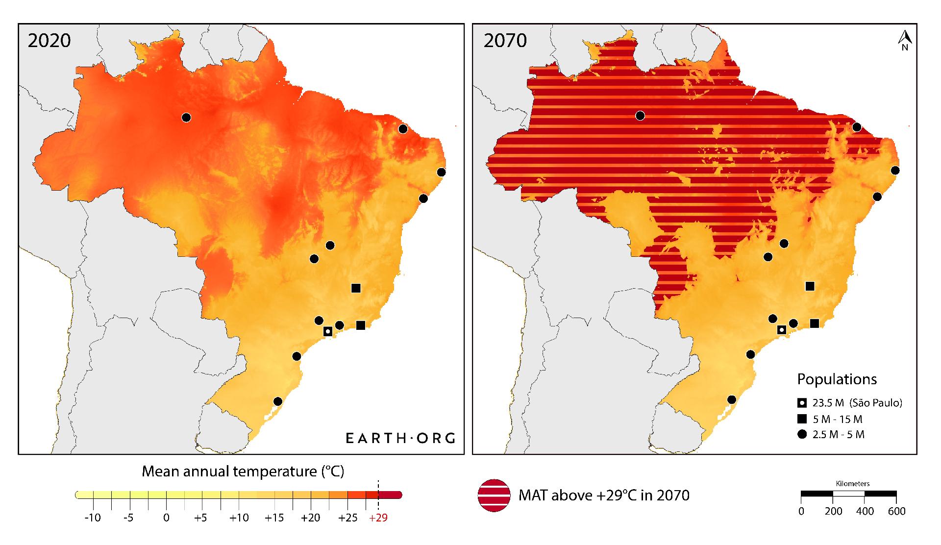 extreme heat Brazil map 2070