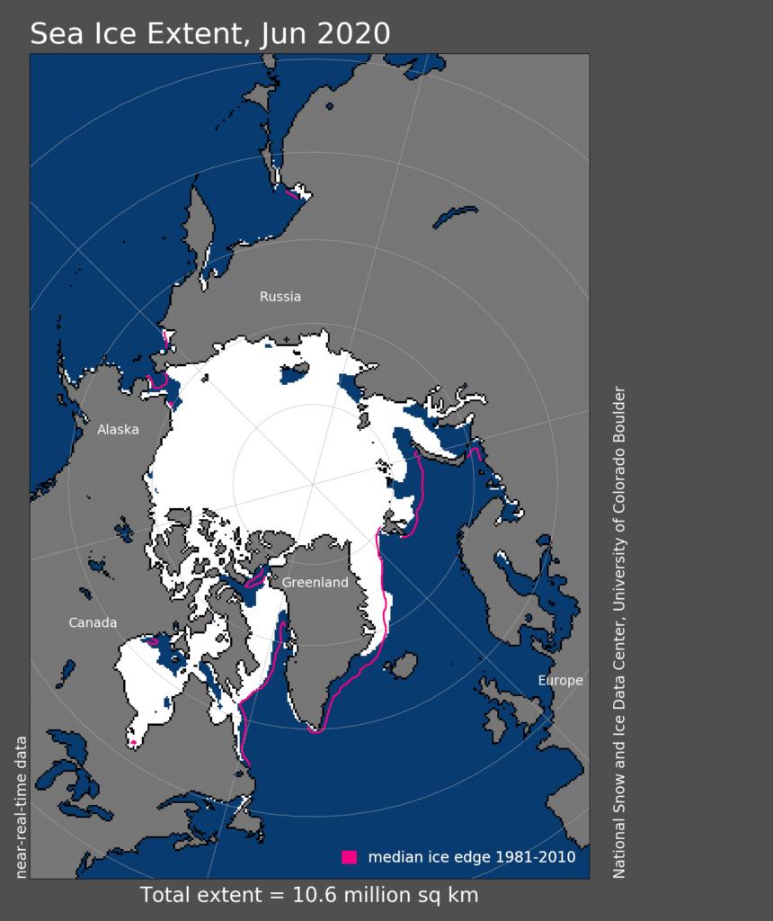 arctic sea ice extent map 2020