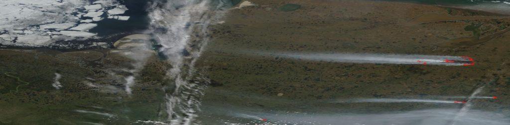 satellite image arctic wildfires 2020 NASA
